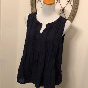 Merona blue sleeveless blouse size large